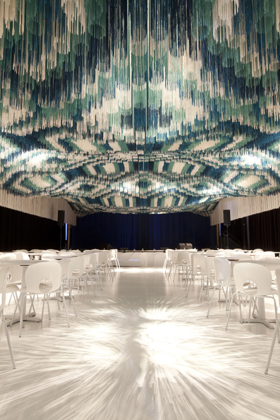 monsoon club, string installation, series architects, designboom