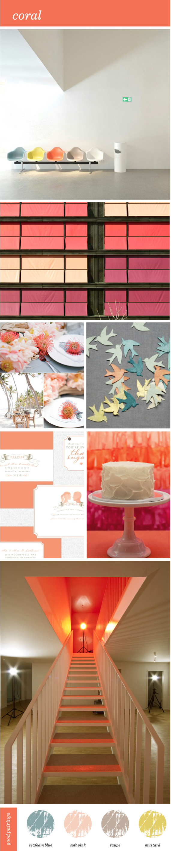 "Coral ""Color Inspiration"" Color Color Boards blue gray pink salmon ""Brooklyn Bride"" ""guest blog"""