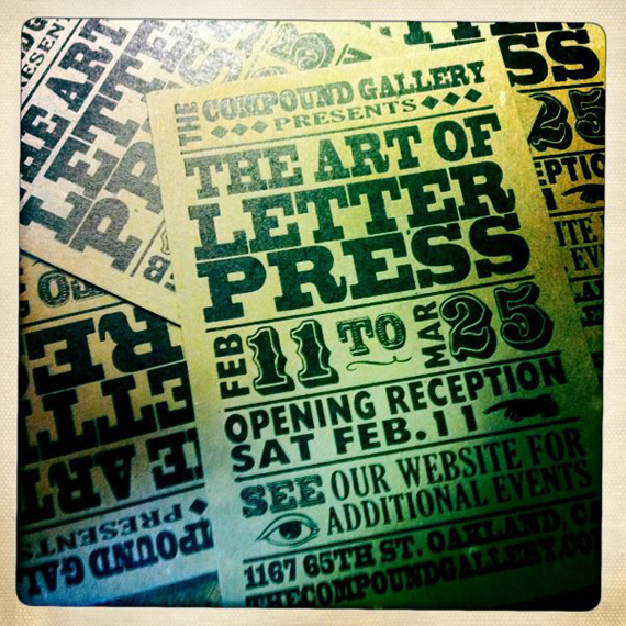 """The Compound Gallery & Studios"" oakland letterpress typeface"