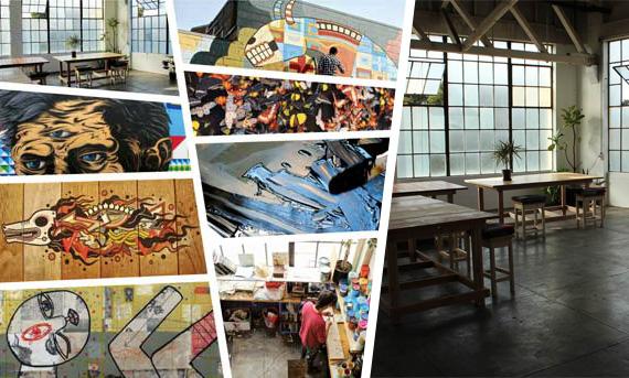 """Faultline Gallery"" Oakland Art murals artists gallery drawing screenprinting"