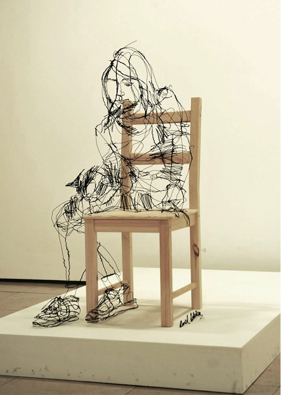 """David Oliveira"", wire, sculpture, ""continuous line drawing"""