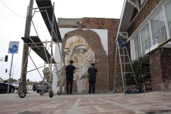 """LS artist VHILS Portugal """"Abbot Kinney"""" Venice"""