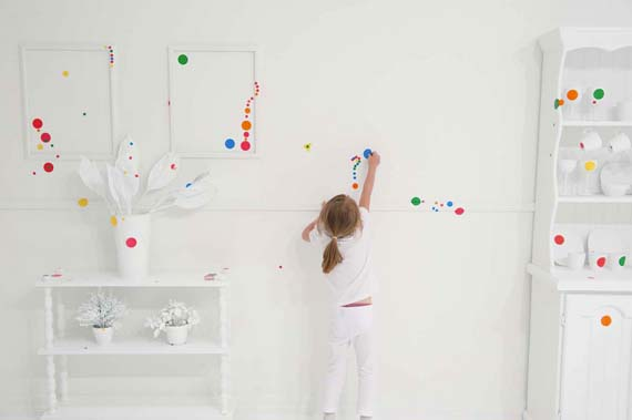 "Yayoi Kusama, ""Obliteration Room"", kids, stickers, installation art"
