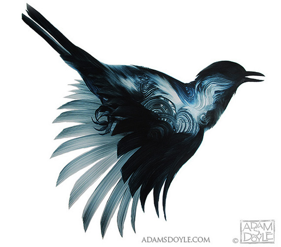 Adam Doyle, Birds, painting, brushstroke, Sumi-E