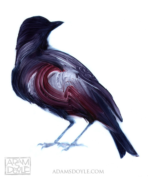 Adam Doyle, Birds, painting, brushstroke, Sumi-E