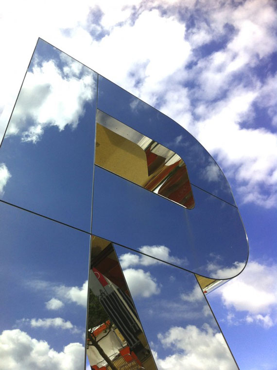 """Monica Bonvicini"". mirror, London, Olympics"